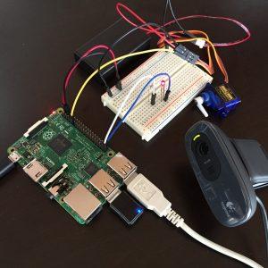 RaspberryPi+USBカメラで動体検知して、slackに画像を送信、Lチカ、サーボモーターを動かす