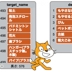 5374.jpのデータを使ってScratchでゴミ分別クイズを作ってみた